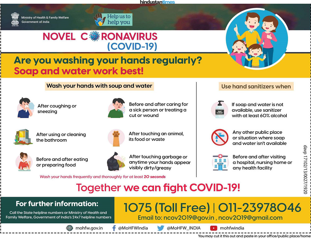 In the first round of print communications, MoHFW released tactical communication on how to stay safe from COVID-19 in virus affected cities. (12th March)