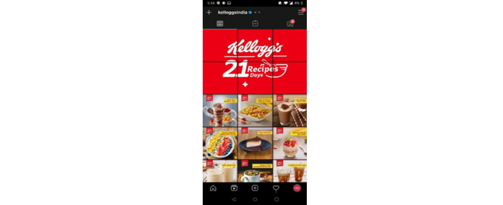The Instagram Grid for Kellogg's India