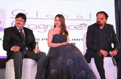 Ashok Gupta, Soha Ali Khan and Somesh Choudhary, MD, Global Fragrances