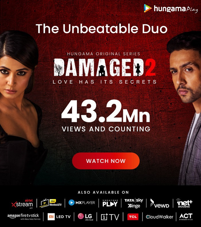Hungama Play's, 'Damaged 2', Crossed 43.2 million episodic views in 30 days